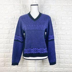 Vtg Nils Ski Sweater Retro Wool Acrylic Purple